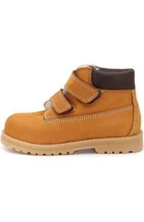 Детские кожаные ботинки с внутренней меховой отделкой и застежкой велькро Rondinella коричневого цвета | Фото №1