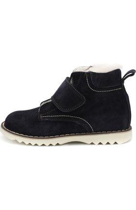 Детские замшевые ботинки с внутренней меховой отделкой и застежкой велькро Rondinella темно-синего цвета | Фото №1