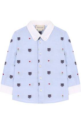 Детский хлопковая рубашка с вышивкой и воротником button down GUCCI голубого цвета, арт. 516355/XBE63 | Фото 1