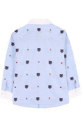 Детский хлопковая рубашка с вышивкой и воротником button down GUCCI голубого цвета, арт. 516355/XBE63 | Фото 2