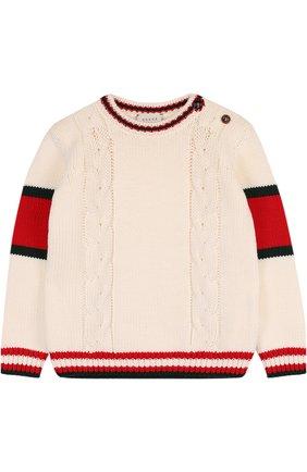 Детский шерстяной свитер фактурной вязки GUCCI белого цвета, арт. 532240/X1578 | Фото 1