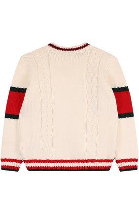 Детский шерстяной свитер фактурной вязки GUCCI белого цвета, арт. 532240/X1578   Фото 2