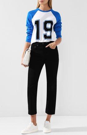 Пуловер с круглым вырезом и принтом Michael Kors Collection синий | Фото №1