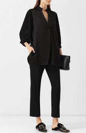 Женская однотонная блуза свободного кроя с укороченным рукавом By Malene Birger, цвет черный, арт. Q62305009/SANAH в ЦУМ   Фото №1
