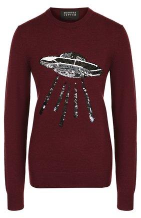 Шерстяной пуловер с круглым вырезом и декоративной отделкой Markus Lupfer бордовый | Фото №1