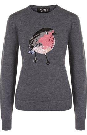 Шерстяной пуловер с круглым вырезом и декоративной отделкой Markus Lupfer серый | Фото №1
