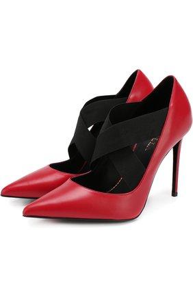 Кожаные туфли с эластичными лентами на шпильке Le Silla красные | Фото №1