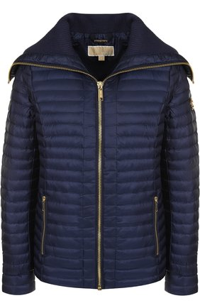 Однотонная стеганая куртка на молнии с карманами MICHAEL Michael Kors зеленая   Фото №1