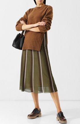 Вязаная юбка-миди с эластичным поясом Marni хаки | Фото №1