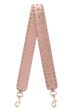 Женские кожаный ремень для сумки valentino garavani rockstud spike VALENTINO светло-розового цвета, арт. QW1P0P37/NAP | Фото 1