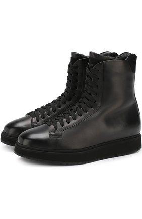 Кожаные ботинки с внутренней отделкой из меха   Фото №1