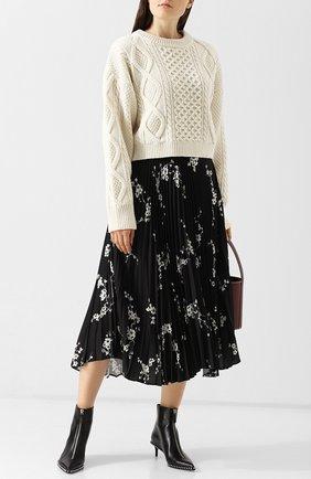 Плиссированная юбка-миди с принтом Act n1 черная   Фото №1