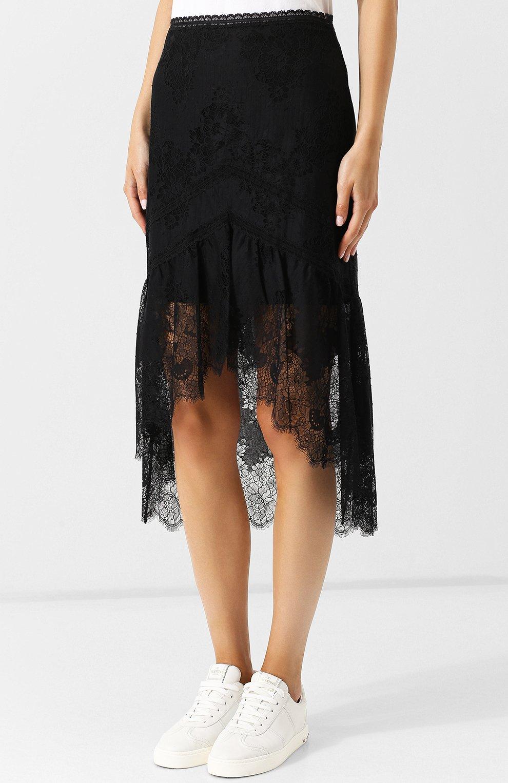 e0fe1eb0a68 Женская черная юбка-миди на молнии с кружевной вставкой ALICE + ...