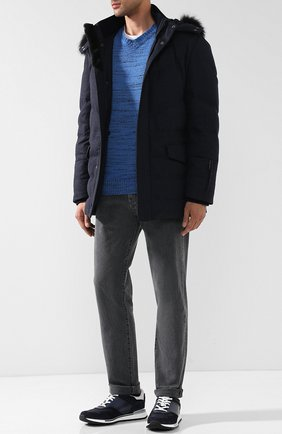 Пуловер из смеси шерсти с кашемиром Isaia голубой | Фото №1