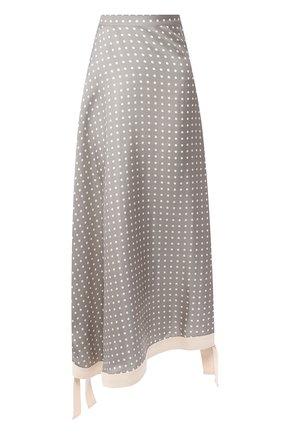 Шелковая юбка-миди в горох   Фото №1