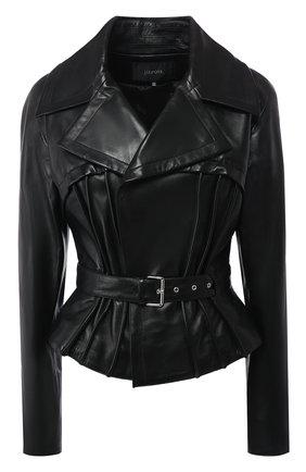 Приталенная кожаная куртка с поясом | Фото №1