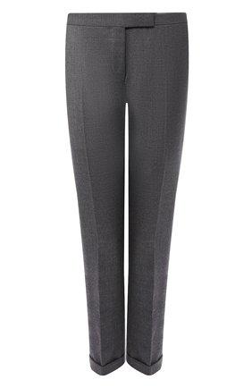 Укороченные шерстяные брюки со стрелками и контрастными лампасами | Фото №1