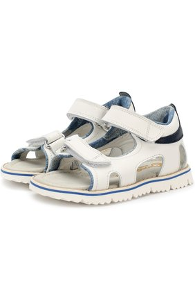 Детские кожаные сандалии с застежками велькро Rondinella белого цвета | Фото №1