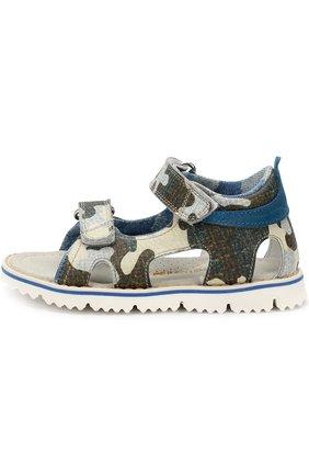 Детские кожаные сандалии с принтом и застежками велькро Rondinella хаки цвета | Фото №1