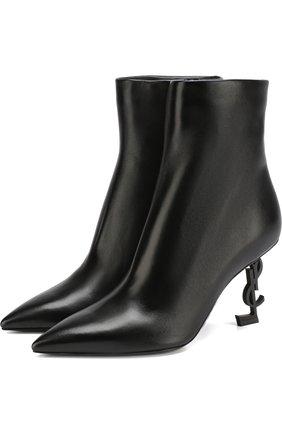 Женские кожаные ботильоны opyum на фигурном каблуке SAINT LAURENT черного цвета, арт. 536108/0RRUU | Фото 1