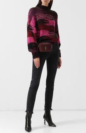 Женские кожаные ботильоны opyum на фигурном каблуке SAINT LAURENT черного цвета, арт. 536108/0RRUU | Фото 2