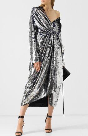 Платье-миди с запахом и пайетками Act n1 серебряное   Фото №1
