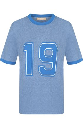 Хлопковая футболка с круглым вырезом и принтом Michael Kors Collection голубая | Фото №1