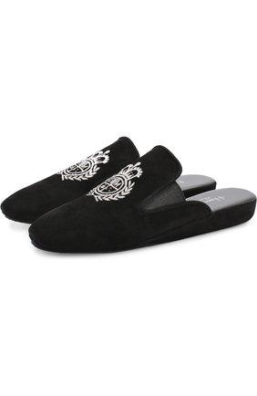 Домашние туфли из замши Homers At Home черные | Фото №1