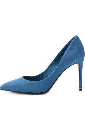 Женские замшевые туфли kate на шпильке DOLCE & GABBANA голубого цвета, арт. CD0039/AC784 | Фото 3