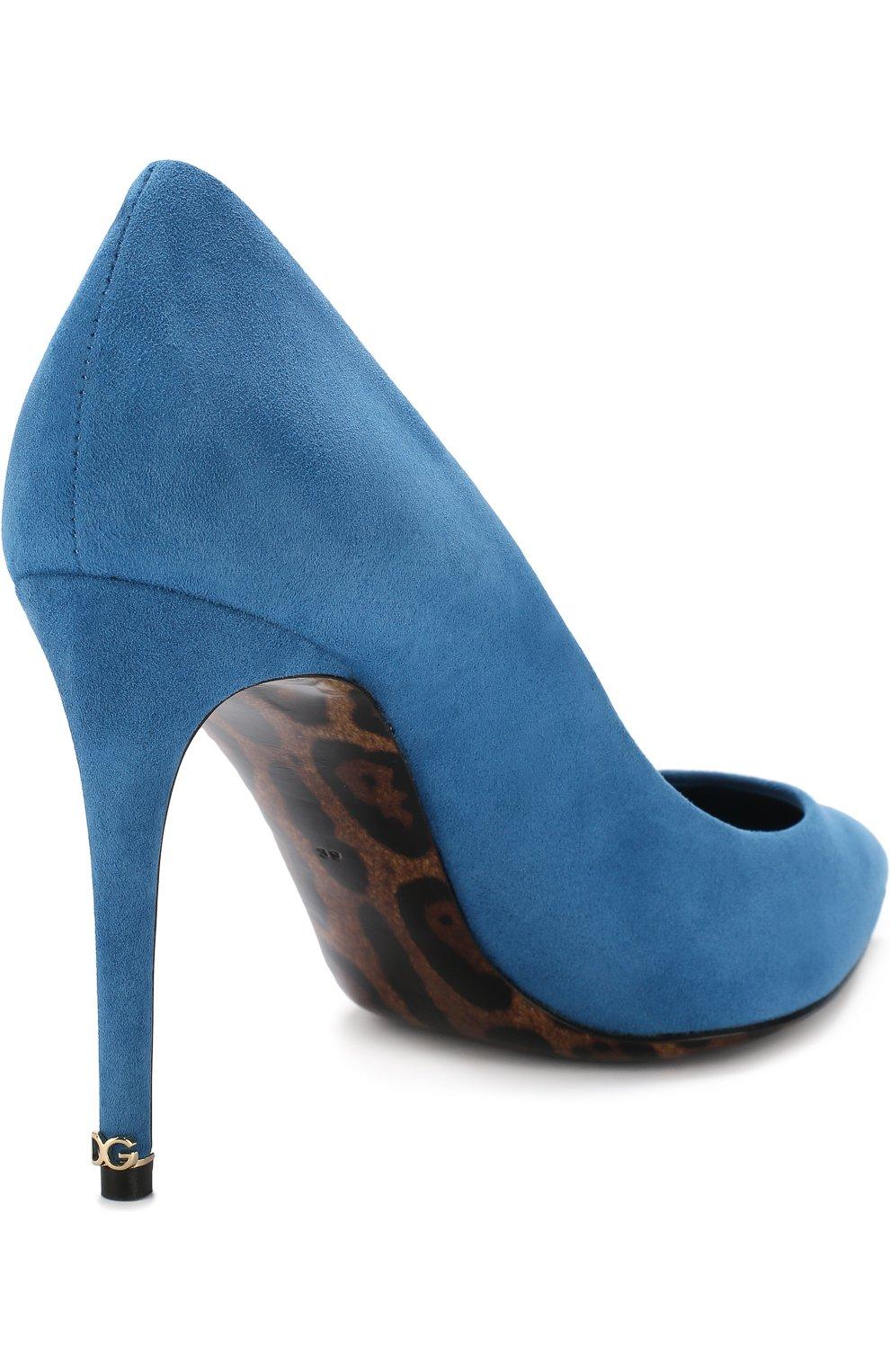 Женские замшевые туфли kate на шпильке DOLCE & GABBANA голубого цвета, арт. CD0039/AC784 | Фото 4
