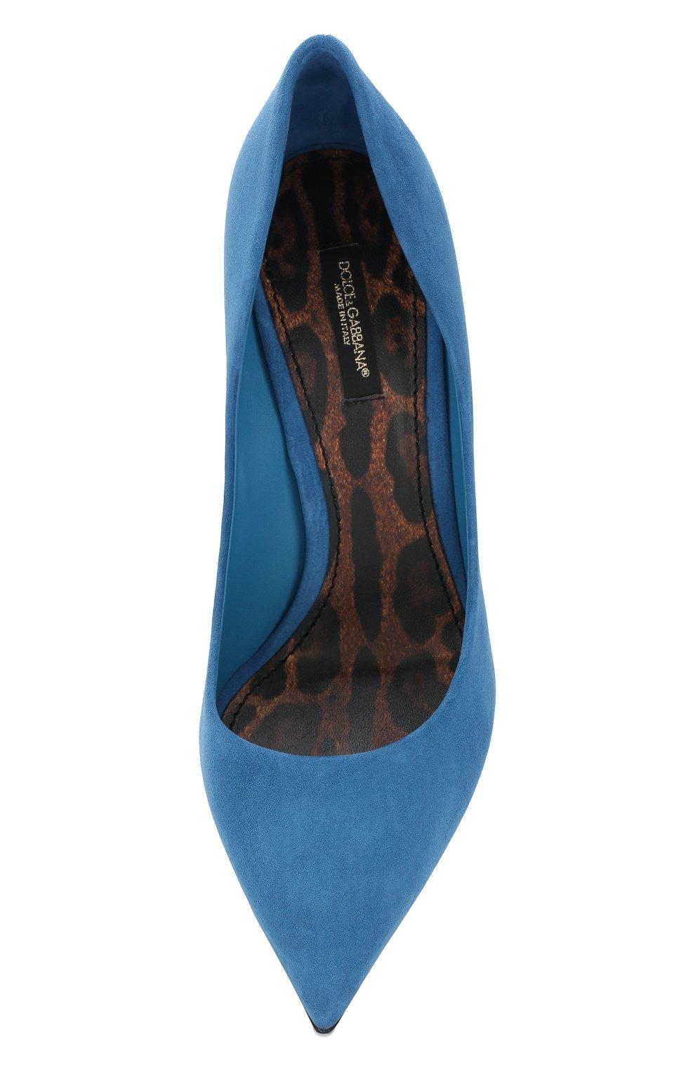 Женские замшевые туфли kate на шпильке DOLCE & GABBANA голубого цвета, арт. CD0039/AC784 | Фото 5