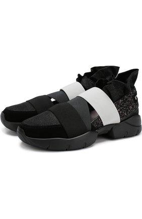 Комбинированные кроссовки с глиттером и эластичными лентами | Фото №1