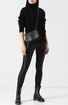 Кожаные ботинки с внутренней меховой отделкой Le Silla черные | Фото №1
