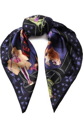 Шелковый платок с принтом Salvatore Ferragamo черный | Фото №1