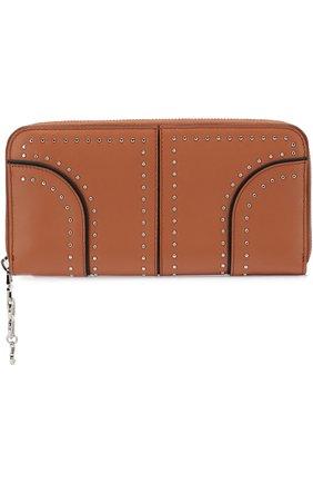 Кожаный кошелек на молнии с металлической отделкой | Фото №1