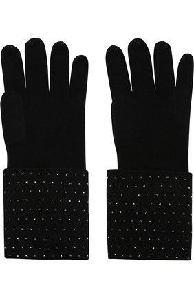 Кашемировые перчатки с отделкой стразами William Sharp черные | Фото №1