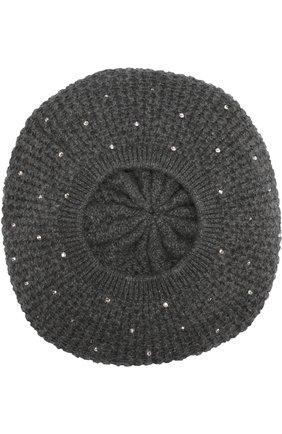Кашемировый берет с отделкой стразами William Sharp темно-серого цвета | Фото №1