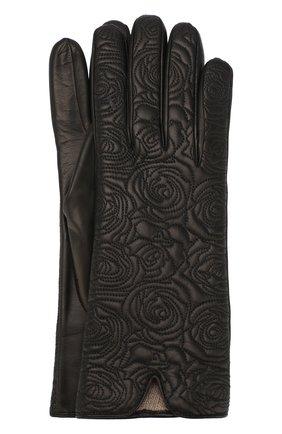 Кожаные перчатки с декоративной прострочкой Sermoneta Gloves черные | Фото №1