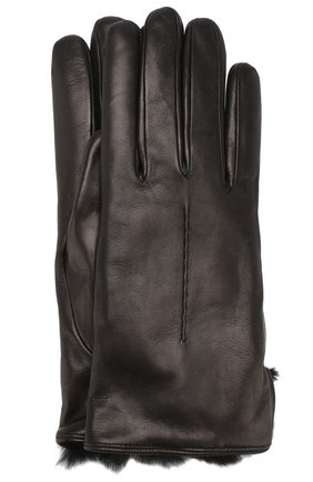 Кожаные перчатки с меховой подкладкой Sermoneta Gloves черные | Фото №1