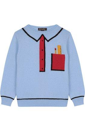 Кашемировый пуловер с контрастный принтом | Фото №1