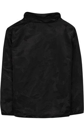 Ветровка с косой молнией и воротником-стойкой NUNUNU черного цвета   Фото №1