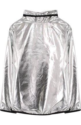 Ветровка с косой молнией и воротником-стойкой NUNUNU серебряного цвета   Фото №1