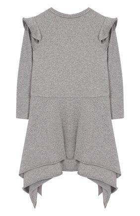 Детское хлопковое платье асимметричного кроя NUNUNU серого цвета   Фото №1