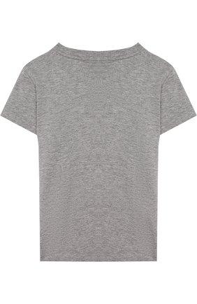 Детская хлопковая футболка с логотипом бренда Ea 7 серого цвета | Фото №1