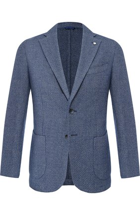 Однобортный пиджак из смеси хлопка и шерсти L.B.M. 1911 голубой | Фото №1