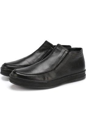 Кожаные ботинки с внутренней меховой отделкой Aldo Brue черные | Фото №1