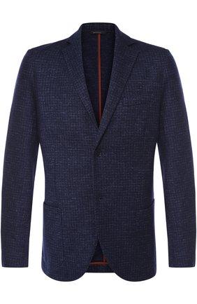 Мужской однобортный пиджак из смеси кашемира и льна с шелком LORO PIANA темно-синего цвета, арт. FAI2571 | Фото 1