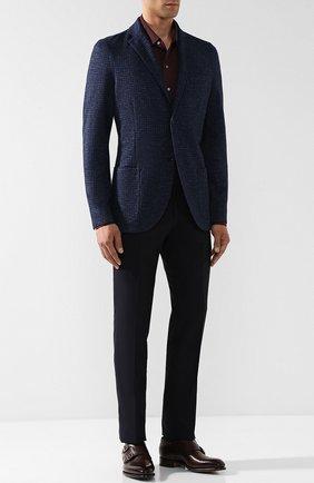 Мужской однобортный пиджак из смеси кашемира и льна с шелком LORO PIANA темно-синего цвета, арт. FAI2571 | Фото 2