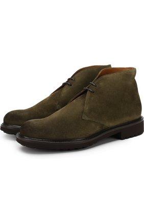 Замшевые ботинки на шнуровке Doucal's зеленые | Фото №1