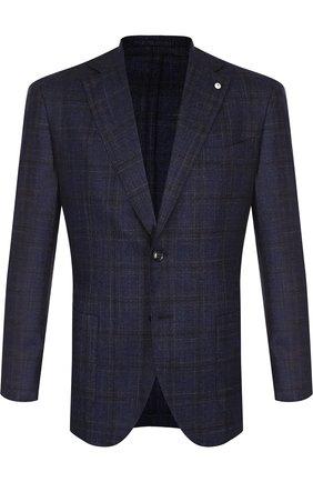 Однобортный пиджак в клетку из смеси шерсти и шелка с кашемиром L.B.M. 1911 темно-синий | Фото №1